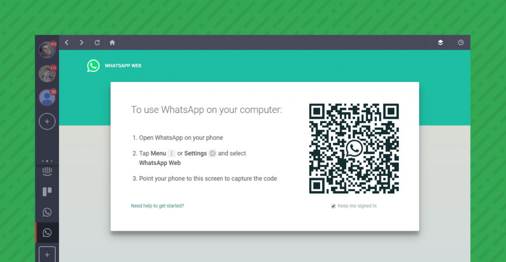The QR code for tethering your WhatsApp account to the desktop version in Shift.