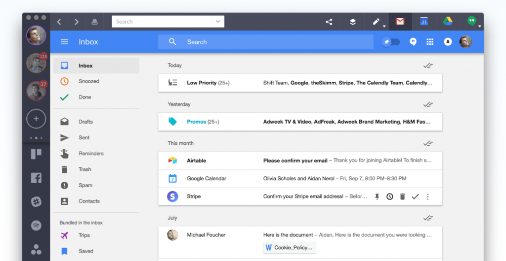 What Inbox by Gmail looks like in Shift