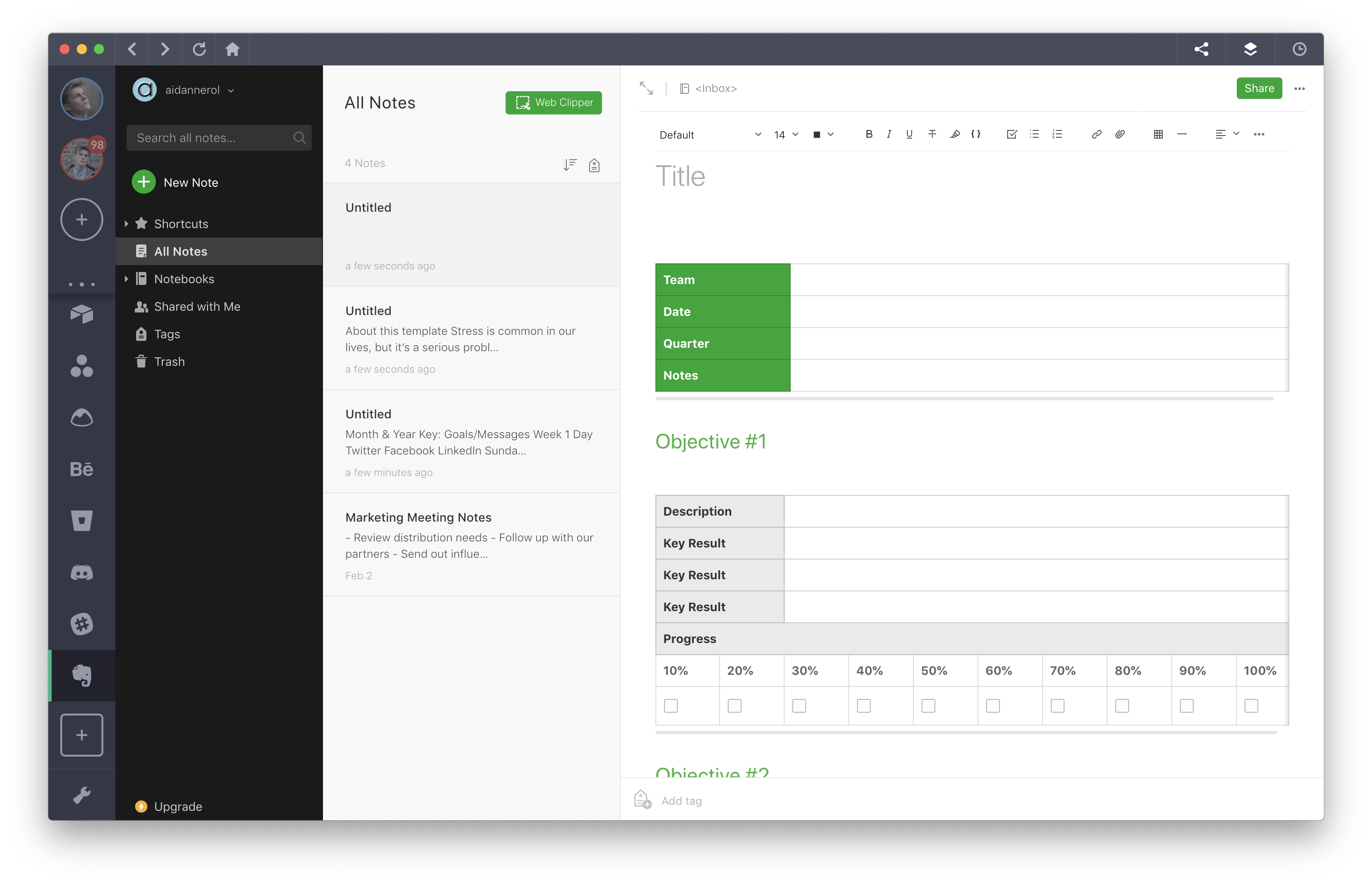 evernote templates project goals